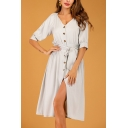 Amazing Womens Gray Half Sleeve V-neck Button down Bow Tied Waist Mid A-line Dress