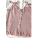 Dainty Girls Solid Color Button Down Ruffle Trim Bow Tie Strap Sleeveless Fitted Crop Cami