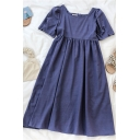 Hot Popular Girls Solid Color Pleated Square Neck Short Puff Sleeve Midi A Line Dress