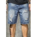 Trendy Mens Shorts Medium Wash Ripped Pocket Zipper Mid Rise Relaxed Fitted Jean Shorts