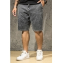 Casual Mens Shorts Medium Wash Pocket Zipper Mid Rise Relaxed Fitted Jean Shorts