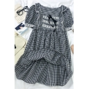 Chic Womens Plaid Tie Lace Trim Ruffle Cuff Pleated Square Neck Short Puff Sleeve Midi A Line Dress in Black