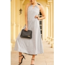 Casual Womens Gray Sleeveless Crew Neck Cut-out Long A-line Cami Dress