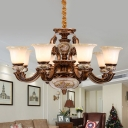 6/8 Bulbs Ceiling Chandelier with Flower Shade Opal Glass Traditional Living Room Pendant in Brown
