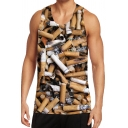 Trendy Mens Tank Top 3D Cigarette Printed Round Neck Regular Fit Sleeveless Tank Top