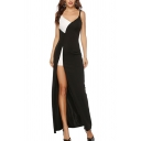 Pageant Womens Patchwork Asymmetric V-neck High Slit Maxi A-line Evening Cami Dress in Black and White