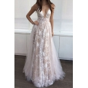 Girls Glamorous Applique Sleeveless Plunging Neck Maxi Pleated Flowy Prom Dress in Apricot