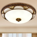 Bowl Milky Glass Flush Mounted Lamp Traditional LED Parlour Flush Ceiling Light Fixture in Brass, 14