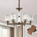 Crystal Prism Cylinder Suspension Lamp Traditional 6-Light Bedroom Chandelier in Brass