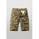 Stylish Men's Shorts Camo Printed Zip Fly Drawstring Button Detail Straight Fit Cargo Shorts with Flap Pockets