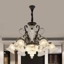 Black 6/8 Lights Chandelier Lamp Countryside Ribbed Glass Bell Flower Hanging Pendant