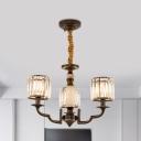 Cylindrical Bedroom Chandelier Rustic Crystal Prism 3/6 Heads Black Hanging Pendant Light