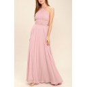Glamorous Laides Halter Bow Tied Backless Maxi Pleated A-line Dress in Pink