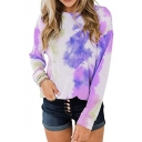 Trendy Womens Tie Dye Printed Long Sleeve Crew Neck Relaxed Fit T-shirt