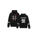 Popular Womens Letter Miss You Cartoon Face Graphic Varsity Stripe Long Sleeve Drawstring Loose Fit Hoodie
