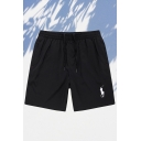 Classic Mens Track Shorts Embroidery Figure Horse Pattern Drawstring Zip Knee Length Regular Fit Mid Rise Track Shorts with Pocket