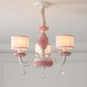 Pink 3-Head Chandelier Light Fixture Classical Fabric Shade Drum Ceiling Pendant Light with Crystal Drops