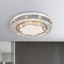 Modern LED Style Flush Mount Lamp with Crystal Block Shade White Flower/Trellis Ceiling Light Fixture