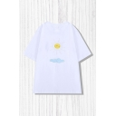 Simple Girls Piped Sun Cloud Print Short Sleeve Crew Neck Relaxed Fit Tee Top