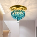 Leaf Corridor Ceiling Flush Mount Modernist Clear/Lake Blue Crystal 4 Bulbs Brass Flush Mount Lighting Fixture