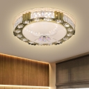Crystal Round Ceiling Flush Mount Simple Bedroom LED Flush Mount Recessed Lighting in Stainless Steel, Warm/Multi-Color Light