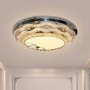 Wavy Crystal Ceiling Flush Mount Modernist Corridor LED Flush Mount Recessed Lighting in Stainless Steel