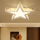 Contemporary Star LED Flush Mount Fixture Cut Crystal Bedroom Semi-Flush Ceiling Light in Stainless-Steel