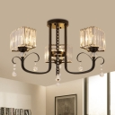 Clear Crystal Geometric Semi Mount Lighting Contemporary 3/7-Head Black Close to Ceiling Lamp for Restaurant
