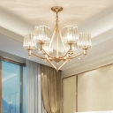 Flared Clear Crystal Hanging Lamp Modern Style 6-Head Gold Chandelier Light for Sleeping Room