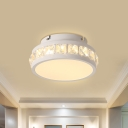Contemporary LED Flush Mount Lighting with Crystal Shade White Circle Ceiling Light Fixture for Doorway
