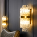 Cylinder Surface Wall Sconce Contemporary Crystal Rod 2 Bulbs Clear Wall Mounted Lighting for Bedroom