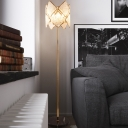 Drawing Room LED Standing Lamp Contemporary Chrome/Gold Floor Light with Rhombus Crystal Shade