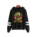 Popular Letter Be Kind Cartoon Bee Graphic Varsity Striped Long Sleeve Drawstring Loose Fit Hoodie