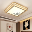 Modern LED Flushmount Ceiling Lamp with Clear Crystal Shade Silver Square Ceiling Light for Sleeping Room