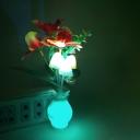 Blooming Phalaenopsis LED Night Lamp Modern Plastic Bedroom Plug-in Wall Light in Multi-Color Light