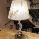 Single Pleated Fabric Table Light Modernism White Barrel Shade Night Stand Lamp with Clear Crystal Base