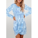 Stylish Tie Dye Printing Knot Front Long Sleeve Crew Neck Midi T-Shirt Womens Dress