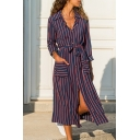 Womens Trendy Striped Checkered Printed Long Sleeve Spread Collar Button down Bow Tie Waist Mid A-line Shirt Dress