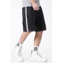 Casual Jean Shorts Black Striped Printed Stitch Tape Pocket Zipper Fly Mid Rise Regular Fit Jean Shorts for Men