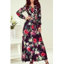 Gorgeous Womens Ditsy Floral Printed Bow Tie Ruffle Trim Long Sleeve Surplice Neck Long Swing Dress