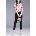Stylish Mixed Cartoon Printed Contrasted Short Sleeve Point Collar Button-up Relaxed Fit Shirt Top in Pink