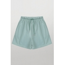 Casual Solid Color Drawstring Waist Relaxed Fit Shorts for Girls