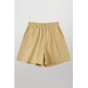Leisure Womens Solid Color Elastic Waist Relaxed Fit Shorts