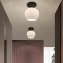Milky Glass Black Ceiling Mount Light Bud 1 Bulb Traditional Style Flushmount Lighting