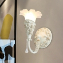 Flower White Glass Wall Lighting Rural Style 1 Bulb Bedroom Wall Mounted Light in Silver/Ivory