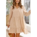 Fashionable Polka Dot Printed Long Sleeve V-neck Ruffled Hem Short Swing Dress in Apricot