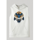 Chic Mens Hoodie Eagle Feather Pattern Drawstring Cuffed Regular Fitted Sleeveless Hoodie