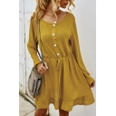 Pretty Womens Solid Color Drawstring Waist Button Front Ruffle Hem Collarless Long Sleeve Mini A-Line Dress