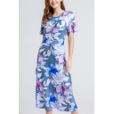 Blue Novelty All over Floral Print Ruched Drawstring Gathered Waist Round Neck Short Sleeve Midi A-Line Dress for Women
