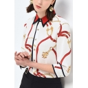 Cool Womens Chain Printed Contrast Trim Button Up Turn-down Collar 3/4 Sleeve Loose Fit Shirt